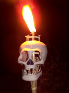 1 dollar for clearance torch.1 dollar for Dollar Tree Skull = nice Halloween Torch!Something wicKED this way comes....: Even death could not stop the flames from giving unnatural life to the skull....