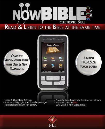 NLT2 NowBible Mini Color-Aud/Vis Bible Reader-4GB. MP3/MP4 capabilities. Words of Christ in red. Audio and visual text.