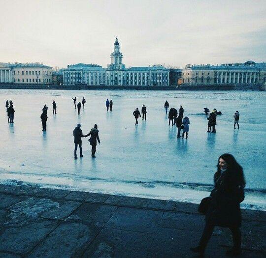 Neva  river in winter. St.Petersburg.