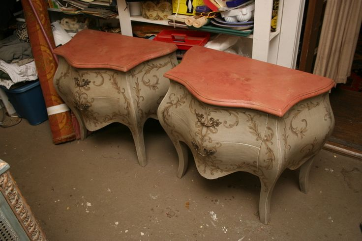 Pr Aged Chests with Scrollwork and Faux Marbre Topwith G. Underwood