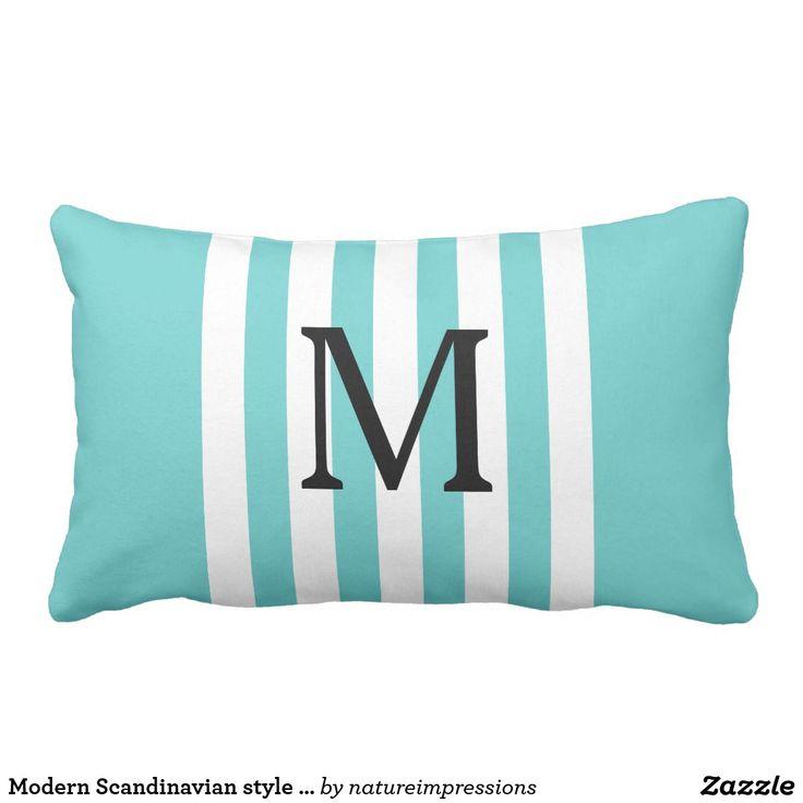 Modern Scandinavian style teal stripes monogram Lumbar Pillow