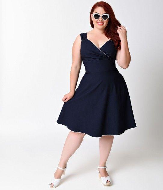 Plus Size 1950s Retro Style Navy Blue Diva Stretch Swing Dress