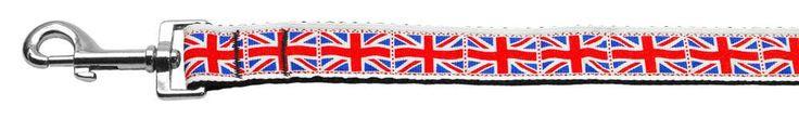 Tiled Union Jack(UK Flag) Nylon Ribbon Leash 1 inch wide 6ft Long