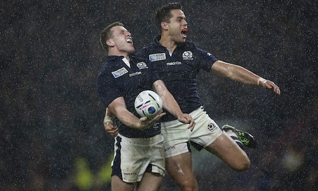 Scotland's Mark Bennett and Sean Maitland celebrate after scoring against Australia at the 2015 World Cup