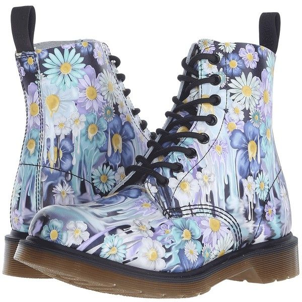 Dr. Martens Pascal 8-Eye Boot Women's Lace-up Boots ($150) ❤ liked on Polyvore featuring shoes, boots, leather upper boots, leather lace up boots, floral print boots, slip resistant shoes and flower print boots