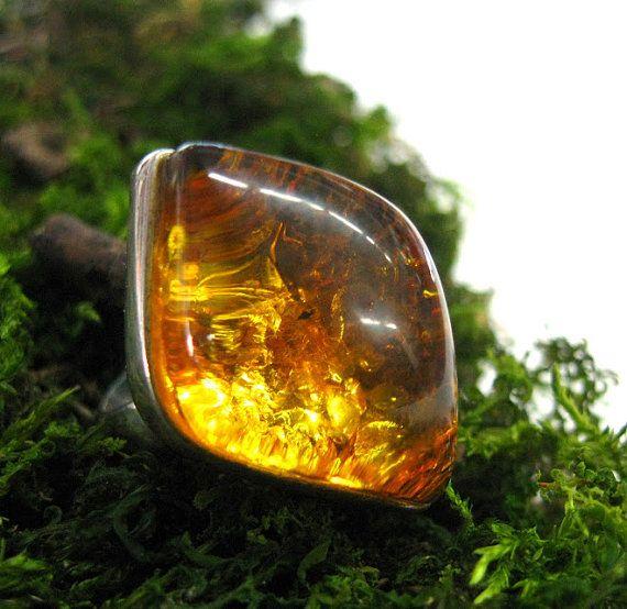 Baltic Amber Statement ring Leaf Shape honey amber by SanaGem