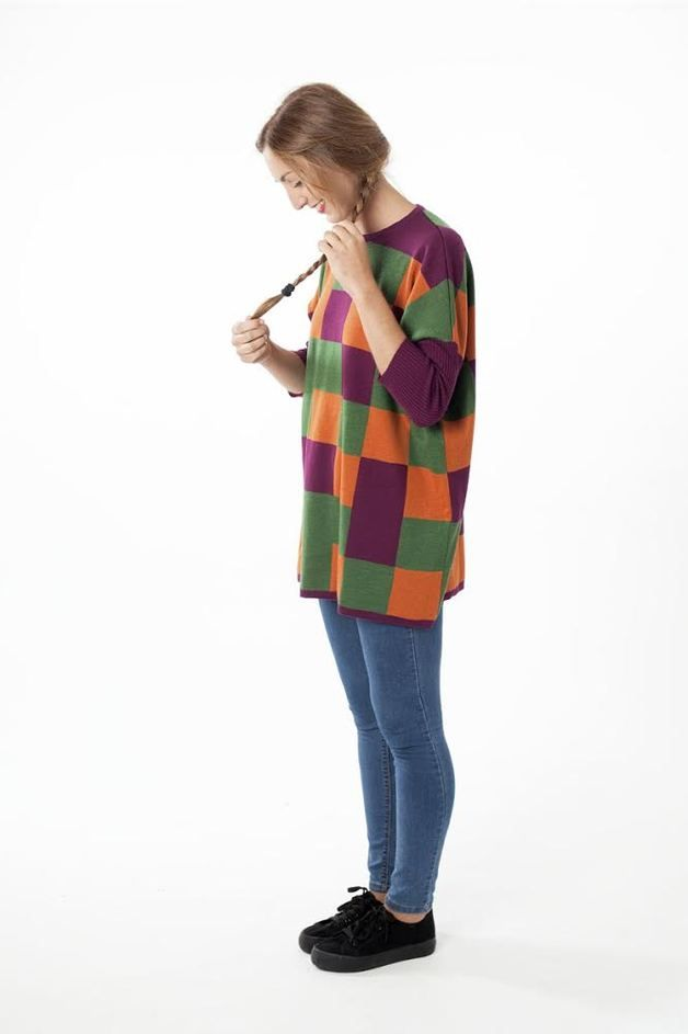 via en.dawanda.com Jumper Dresses – merino wool sueter with colored squares – a unique product by estonoesascot on DaWanda