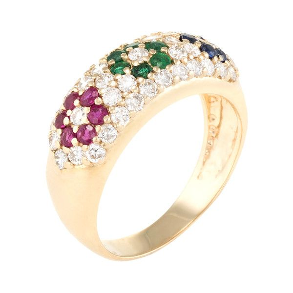 Estate Fine Jewelry Women's 14K Yellow Gold, Diamond & Gemstone Flower... ($1,295) ❤ liked on Polyvore featuring jewelry, rings, multi, flower rings, 14k ring, yellow gold diamond rings, wide-band diamond rings and flower diamond ring