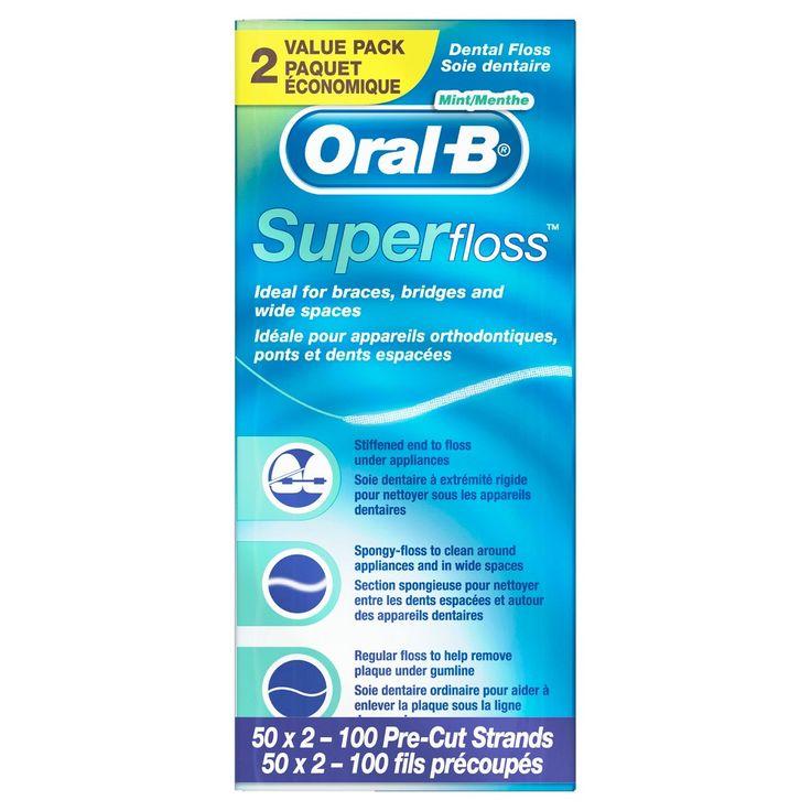 Oral-B Super Floss Pre-Cut Strands Mint - 50ct/2pk