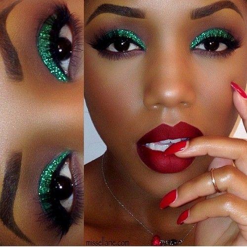 Green glitter eyes. Red velvet lips.