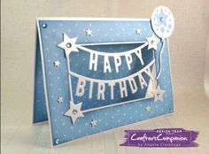 5 x 7 Card made with Sara Signature Birthday Party Collection.  Designed by Angela Clerehugh #crafterscompanion