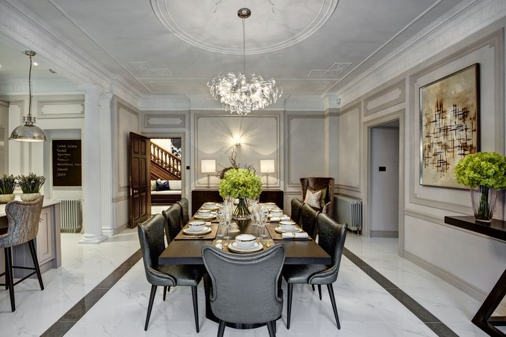 Elegant eclectic Kitchen/dining room of grade II listed apartment in accents of bronze and blues designed by www.aji.co.uk