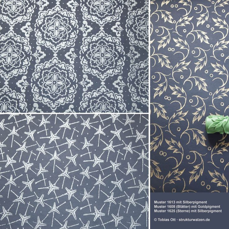 pattern rolled wall design with gold and silver effect colors.   Walzenmuster mit Gold- und Silbereffekt Farben.