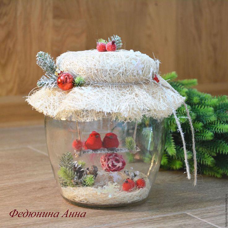 Купить Новый год в баночке - ярко-красный, подарок 2017, белый, снегири, Новый Год, Праздник