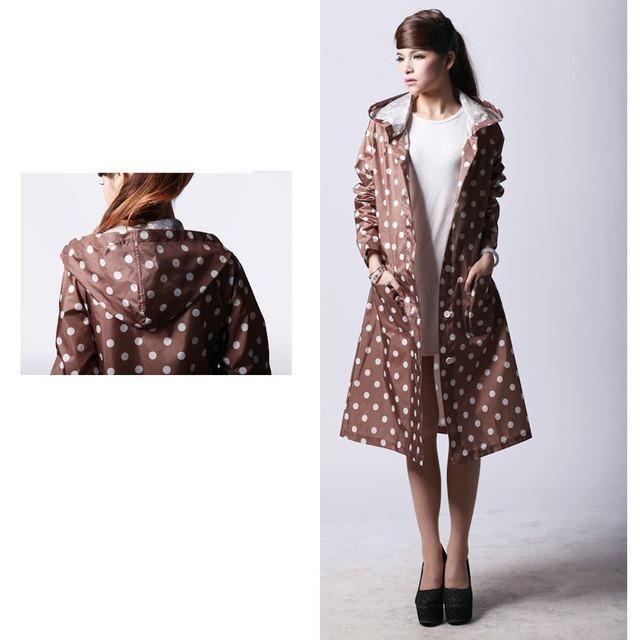Dot Girl Lady Hooded Raincoat Women Outdoor Travel Waterproof Riding Cloth Rain coat for Women Poncho Long Rainwear rain jacket #RaincoatsForWomenPolkaDots #RaincoatsForWomenHoods