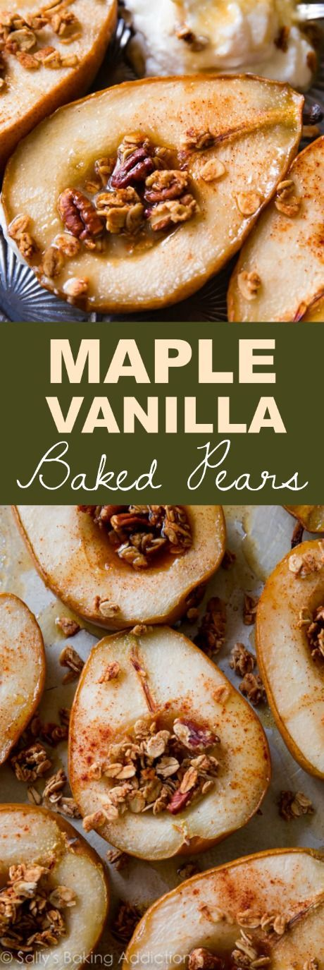 An easy, healthy, four ingredient recipe for deliciously simple maple vanilla baked pears!