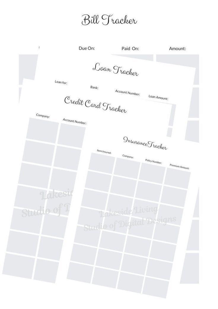 Printable Financial Planner, loan tracker, bill tracker, insurance tracker, credit card tracker, planner Insert 8.5×11 size