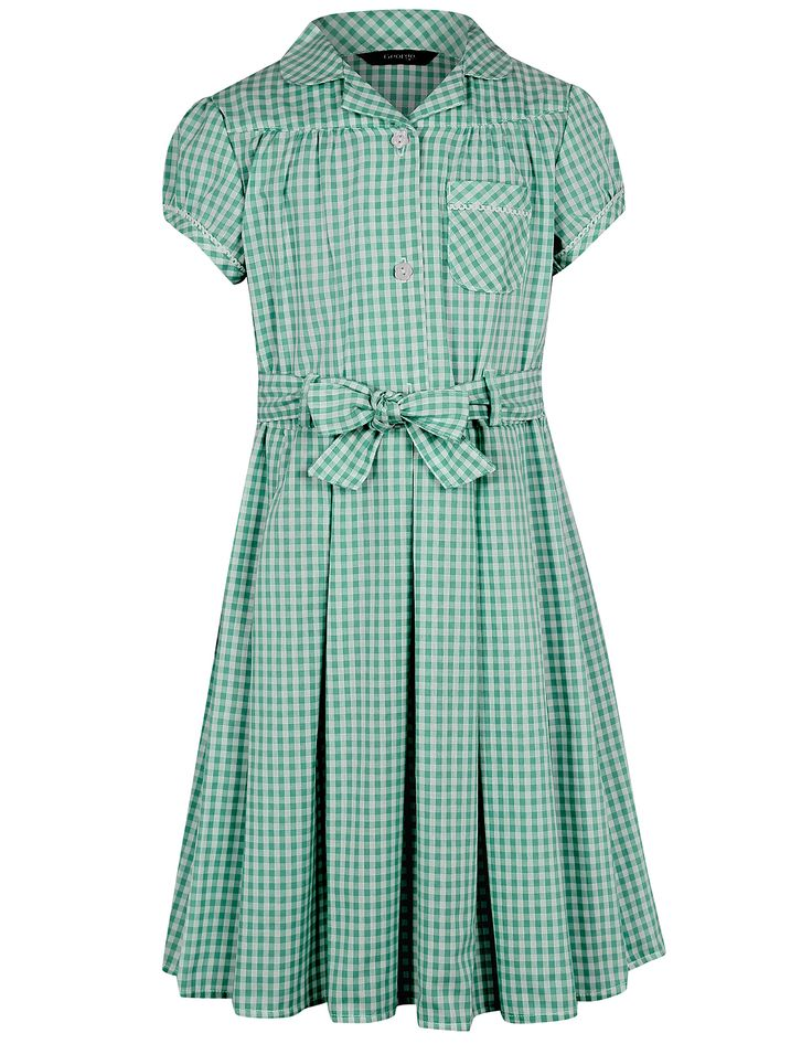 Girls School Gingham Dress – Bottle Green | School | George at ASDA