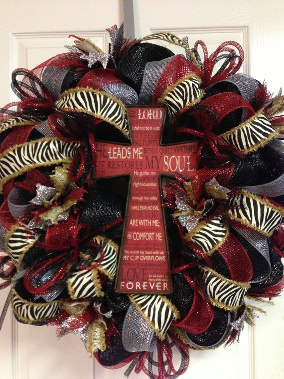 Cross Zebra Wreath by HighMaintenanceDes on Etsy, $110.00