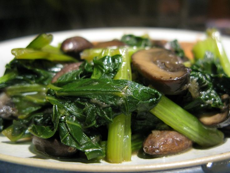 Stir-fried Turnip Greens (with Mushrooms and Almonds)