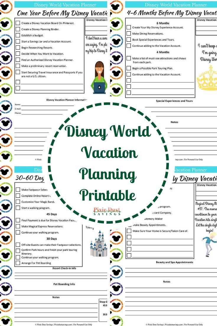 Disney World Vacation Planning Guide Free Disney Planning Printables Disney Planning Printables Disney World Vacation Planning Disney Planner