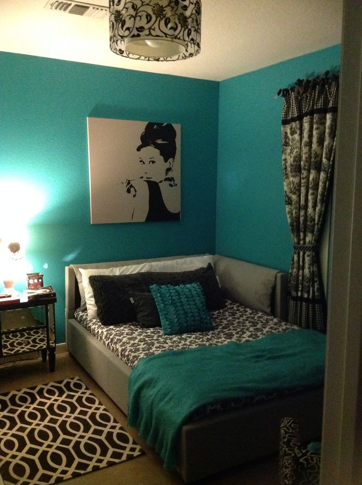 Teal Black White And Gray Bedroom
