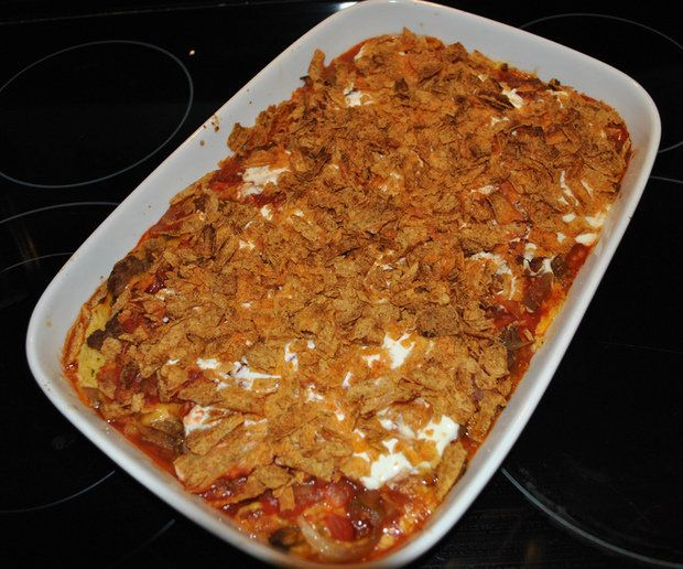 Mexican Chicken Casserole - NOTE:  hated as a casserole.  Omit the doritos and make up the filling as a dip and serve with tostitos instead ;)