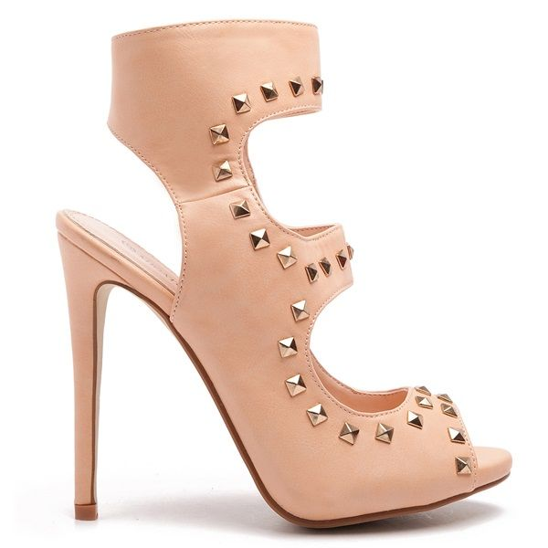 High heeled sandal boots in salmon pink colour, with gold-tone studs and zipper on the side.