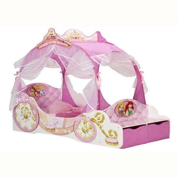 Lettino Carrozza Principesse Disney: perfetto come lettino di passaggio dal letto con le sbarre al letto tradizionale. Sicuro, resistente e bellissimo!