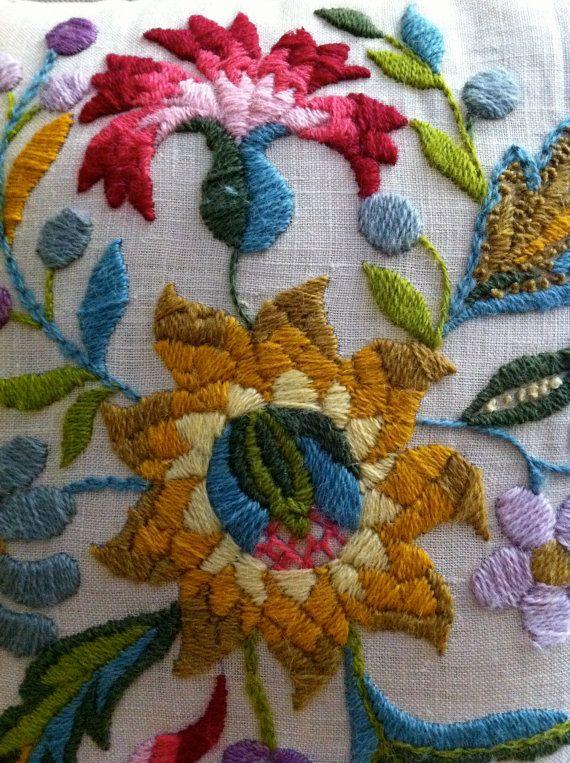 Vintage Crewel Work Pillow Flower Power by JunkyardGenes on Etsy