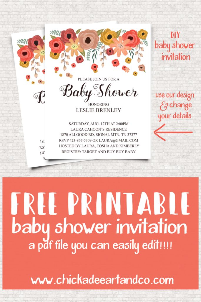 FINALLY!!! A free baby shower invitation that I can edit and print at home :)