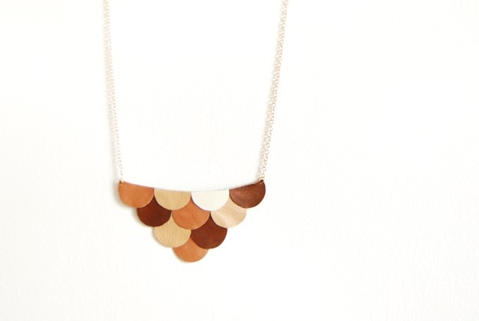 Leather Scallop Petals Necklace - Bokeh Honey Brown Coffee and Cream Palette - Made to Order