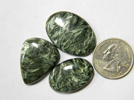 3 Pieces Lot Seraphinite Loose Gemstone Lot Mix Shape