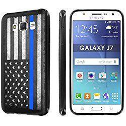 Samsung [Galaxy J7 [J700H] [2015] [SlickCandy] [Black] Slim Fit Gummy TPU Phone Case - [Police Blue Line Flag]