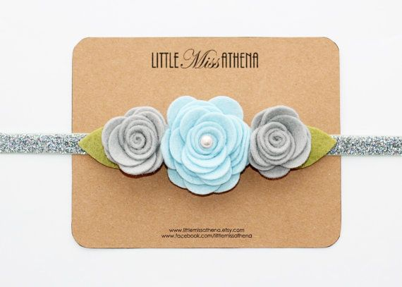Silver Gray and Blue Snow Felt Flower Headband // Wool Felt Flower // Spring Headband // Easter Headband // Baby Girls, Toddler,