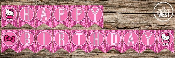 printable hello kitty happy birthday banner
