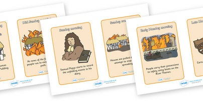 Fire of London event cards. Children could sequence the events.