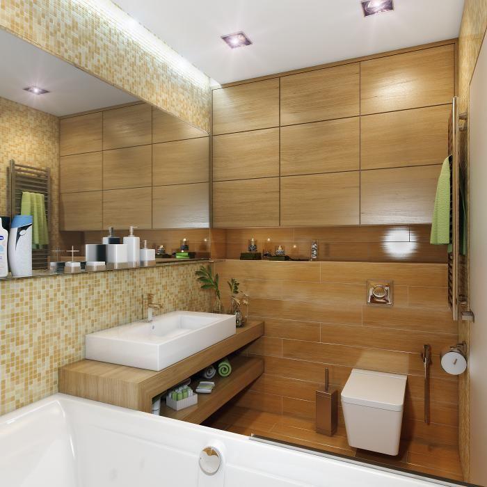 Ванная комната. Дерево и мозаика.