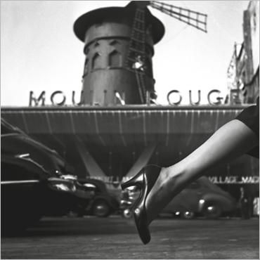 Dior's stocking and Moulin Rouge, Paris, 1953 by Georges Dambier