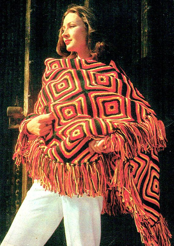 PDF Vintage 1970s Womens Ladies Mexicana Shawl Knitting