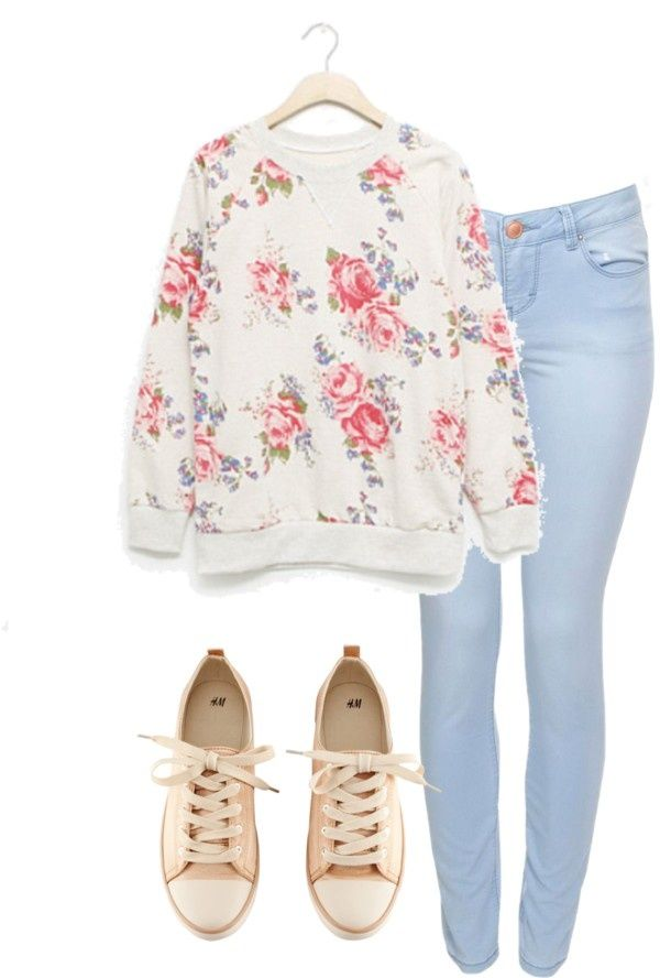 6 cute outfits with floral sweaters to copy right now - Find more ideas at women-outfits.com