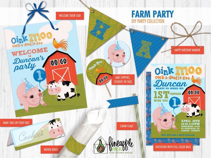 Farm Birthday, Farm Invite, Farm Party, Farm Invite, Farm Birthday, Farm Party, Farm Birthday, Farm Party, Barnyard, Pig, Cow, Rooster by FineapplePair on Etsy