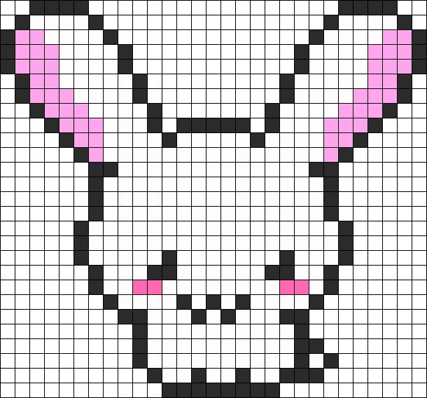 Kawaii Bunny Perler Bead Pattern / Bead Sprite