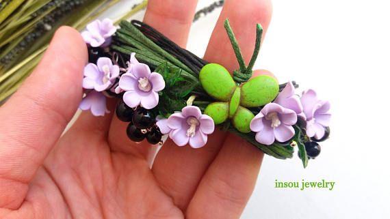 Flower Bracelet Charm Bracelet Wrap Bracelet Handmade