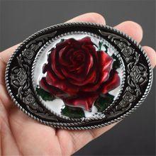 Vrouwen mens kleding cowboy gespen accessoires luxe rode rose ovale metalen letters gesp riem gratis verzending(China)