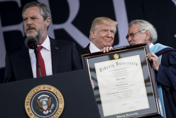 "Donald Trump at the commencement ceremony for Liberty University and the crowd roared when he was introduced as a man who ""bombed those in the middle east"" -- And folks wonder why I'm an atheist!! I loath organized religion! All of 'em!"