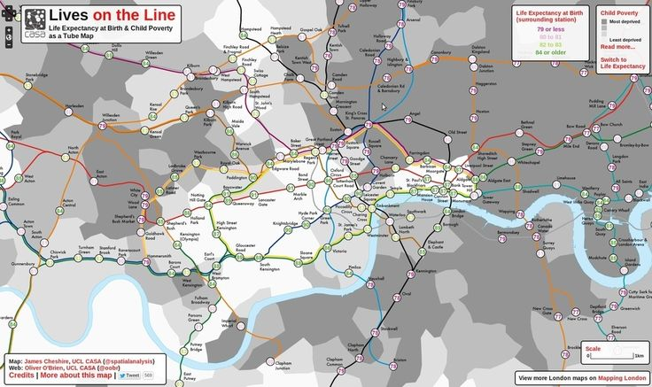 The life expectancy map. | 17 London Underground Maps You Never Knew You Needed