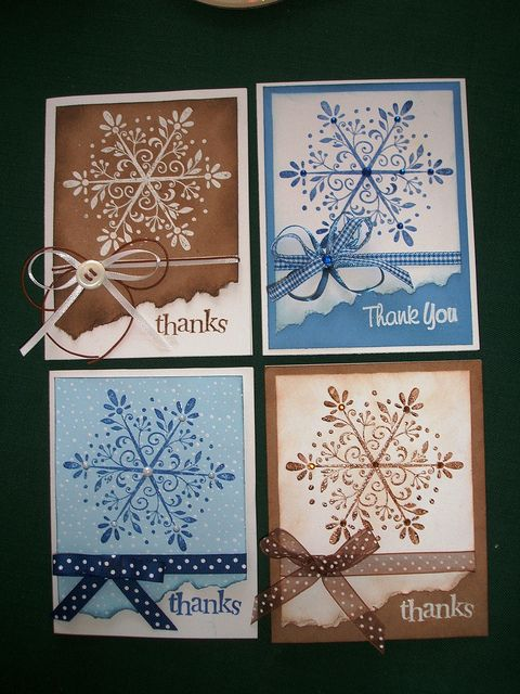 Notecard set...snowflake thank-you's luv the brown and blue variations on a theme...gorgeous flourish snowflake...