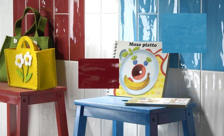 Tonalite collezione Joyful40, 10x40, 13 colori lucidi su superficie strutturata. Qui nei colori Milk, Cherry, e Azure.Tiles, piastrelle, ceramiche, ceramica, walltiles, floortiles, rivestimento, pavimento, metrotiles, subwaytiles