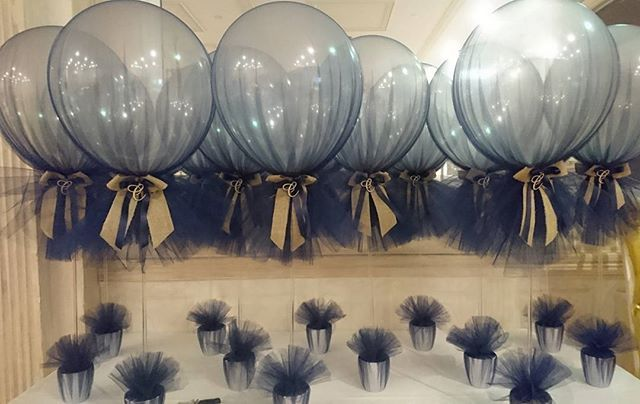 Navy and burlap tulle balloons for baby corners christening with customised wooden initial cut out